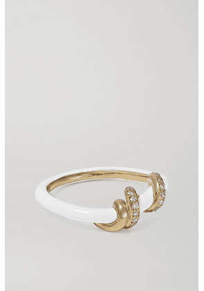 Bea Bongiasca - Baby Vine 9-karat Gold, Enamel And Diamond Ring - White