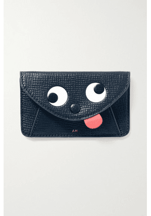 Anya Hindmarch - Zany Textured-leather Cardholder Sticker - Navy