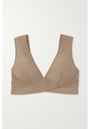 ELSE - Ziggy Embroidered Stretch-jersey Soft-cup Bra - Taupe