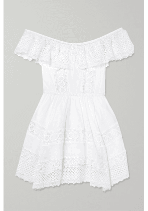 Charo Ruiz - Vaiana Crocheted Lace-paneled Cotton-blend Mini Dress - White