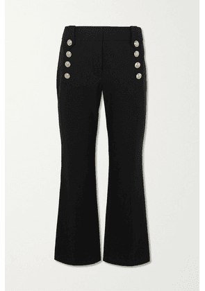 Derek Lam 10 Crosby - Robertson Cropped Button-embellished Cotton-blend Flared Pants - Black