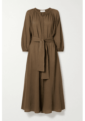 APIECE APART - Isla Cropped Belted Cotton-gauze Jumpsuit - Brown