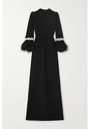 Andrew Gn - Feather-trimmed Crystal-embellished Crepe Gown - Black
