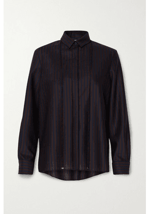 Akris - Striped Stretch-wool Shirt - Midnight blue