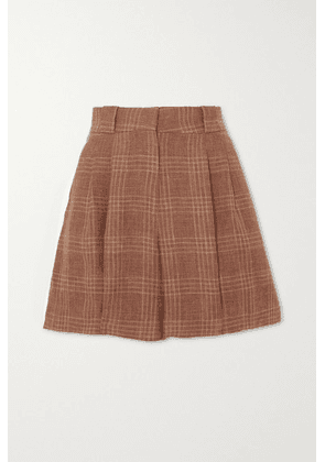 Blazé Milano - Bella Donna Fell Pleated Checked Linen And Wool-blend Shorts - Brick