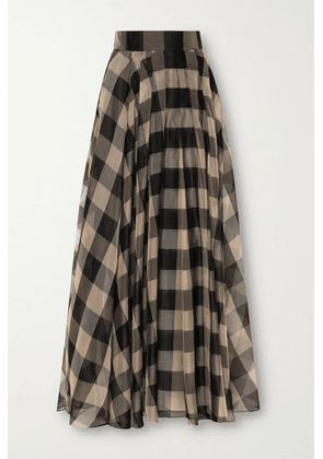 Akris - Checked Mulberry Silk-organza Jacquard Maxi Skirt - Black