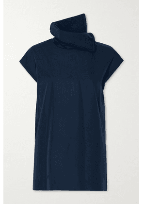Akris - Draped Cotton-poplin Blouse - Navy