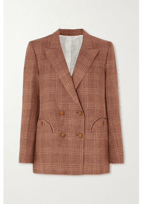 Blazé Milano - Bella Donna Everynight Double-breasted Checked Linen And Wool-blend Blazer - Brick