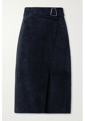 Akris - Suede Belted Wrap-effect Skirt - Navy