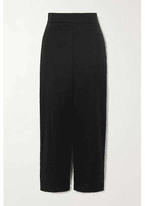 Akris - Cropped Cotton And Silk-blend Poplin Wide-leg Pants - Black