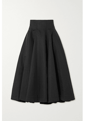 Loewe - Pleated Linen And Cotton-blend Midi Skirt - Black