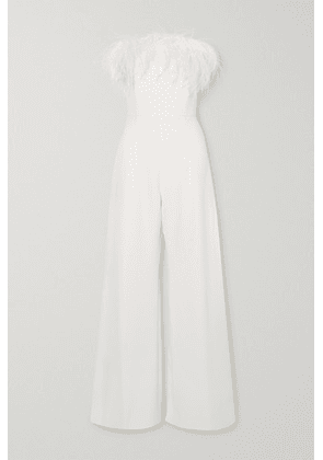 16ARLINGTON - Taree Strapless Feather-trimmed Crepe Jumpsuit - White