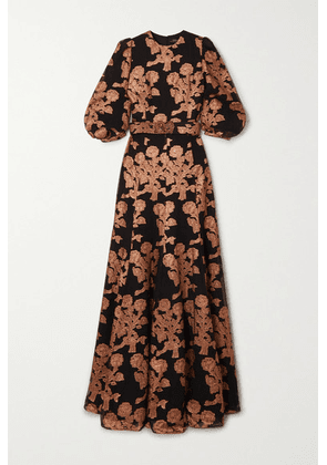 Andrew Gn - Embellished Metallic Fil Coupé Silk-blend Gown - Copper