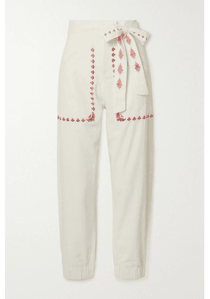Chufy - Gouyen Belted Embroidered Cotton-twill Pants - Ivory