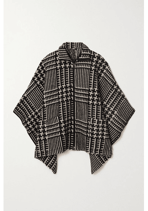 Akris - Checked Cashmere And Mulberry Silk-blend Jacquard Cape - Black