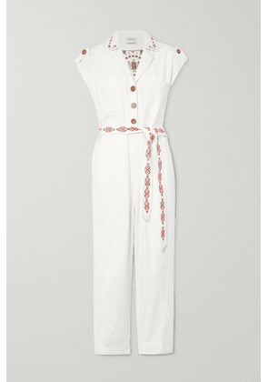 Chufy - Gouyen Belted Embroidered Cotton-twill Jumpsuit - Ivory