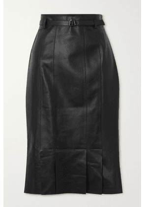 Akris - Belted Leather Skirt - Black