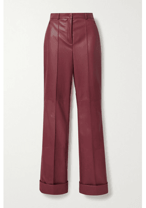 Akris - Leather Straight-leg Pants - Burgundy