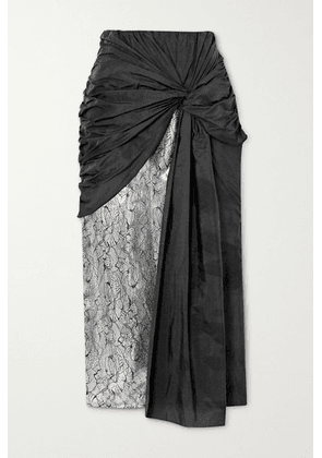 16ARLINGTON - Shulan Knotted Shell, Lace And Sequin-embellished Satin Midi Skirt - Black