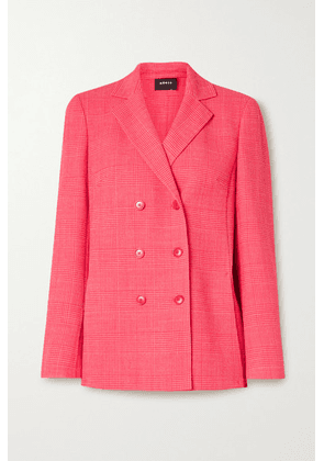 Akris - Double-breasted Checked Wool-blend Blazer - Bubblegum