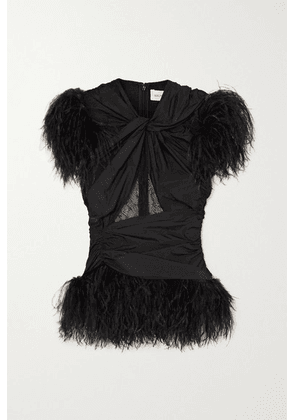 16ARLINGTON - Sumire Feather And Lace-trimmed Ruched Shell Top - Black