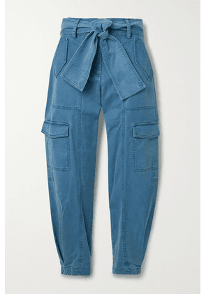 Derek Lam 10 Crosby - Elian Cropped Belted Cotton-blend Twill Tapered Cargo Pants - Blue