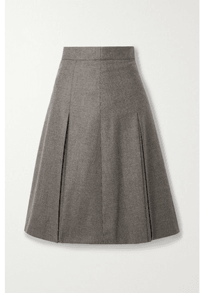 Akris - Pleated Checked Wool Skirt - Mushroom