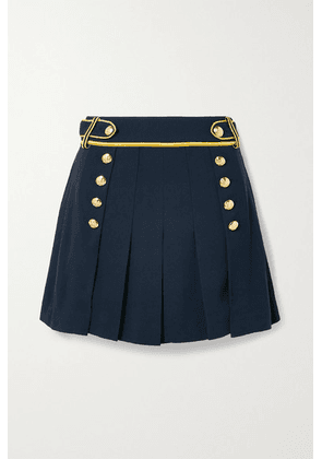 Derek Lam 10 Crosby - Laetitia Pleated Metallic-trimmed Crepe Shorts - Midnight blue