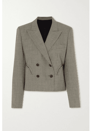 Blazé Milano - Kentra Spencer Cropped Double-breasted Houndstooth Wool Blazer - Black