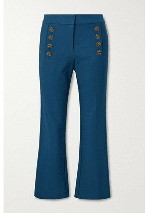 Derek Lam 10 Crosby - Adeline Cropped Button-embellished Stretch-cotton Flared Pants - Indigo