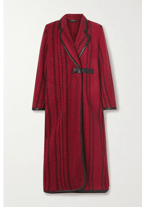 Akris - Leather-trimmed Wool-blend Tweed Coat - Red