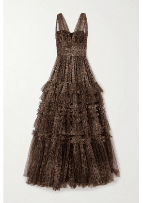 Dolce & Gabbana - Ruffled Tiered Leopard-print Tulle Gown - Brown