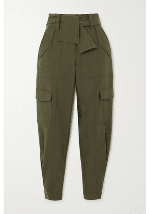 Derek Lam 10 Crosby - Elian Cropped Belted Cotton-blend Twill Tapered Pants - Army green