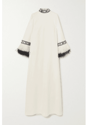Andrew Gn - Feather And Crystal-embellished Cady Gown - Off-white