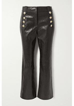 Derek Lam 10 Crosby - Corinna Button-embellished Cropped Faux Leather Flared Pants - Chocolate