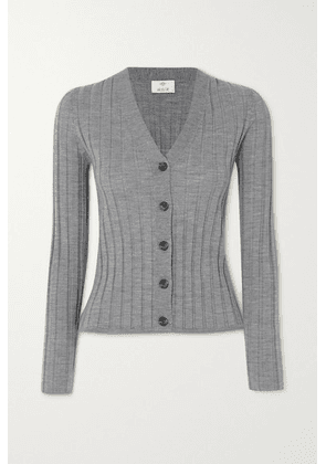 Allude - Ribbed Wool Cardigan - Gray