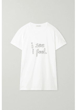 Bella Freud - I See I Feel Embroidered Organic Cotton-jersey T-shirt - White