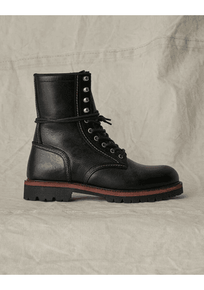 Belstaff MARSHALL OILED LEATHER BOOT Black UK 6 /