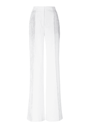 Akris Farida Metallic Foil-Pleated Boot-Leg Pants