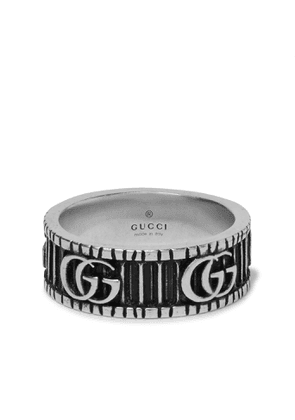 Gucci - Logo-Embossed Sterling Silver Ring - Men - Silver
