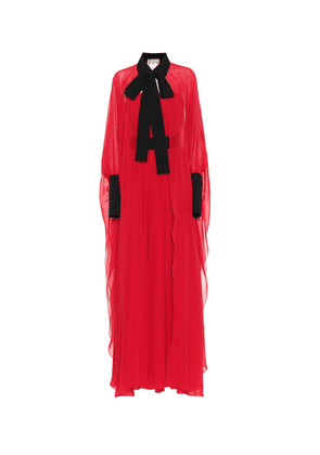 Pleated silk georgette gown