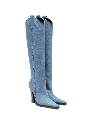Denim knee-high boots