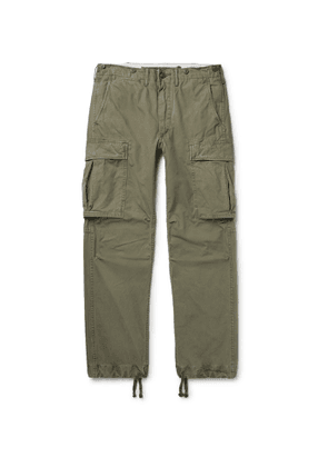 RRL - Slim-Fit Tapered Washed-Cotton Cargo Trousers - Men - Green