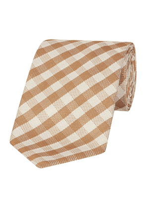Beige And White Gingham Check Silk Tie