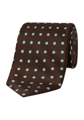 Brown And Blue Spot Silk Tie