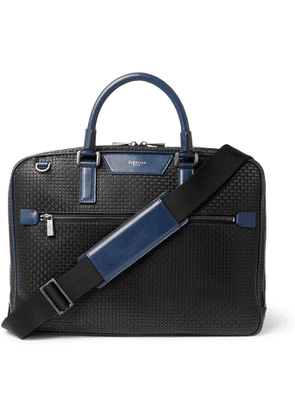 Serapian - Leather-Trimmed Stepan Coated-Canvas Briefcase - Men - Black