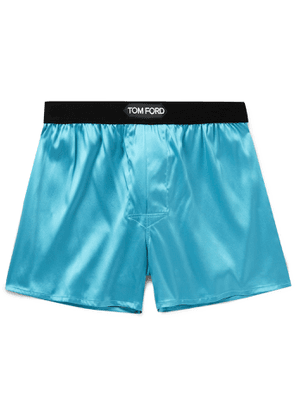 TOM FORD - Velvet-Trimmed Stretch-Silk Satin Boxer Shorts - Men - Blue