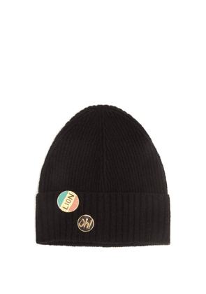 Bella Freud - Pin-embellished Wool Beanie Hat - Womens - Black