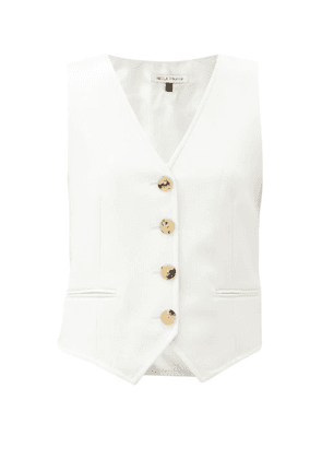 Bella Freud - Chrissie Wool-twill Single-breasted Waistcoat - Womens - Ivory