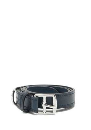 Anderson's - Topstitched Leather Belt - Mens - Navy